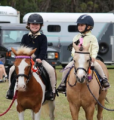Beginners Hayley and Daisy on their beautiful ponies Jamboree 2017
