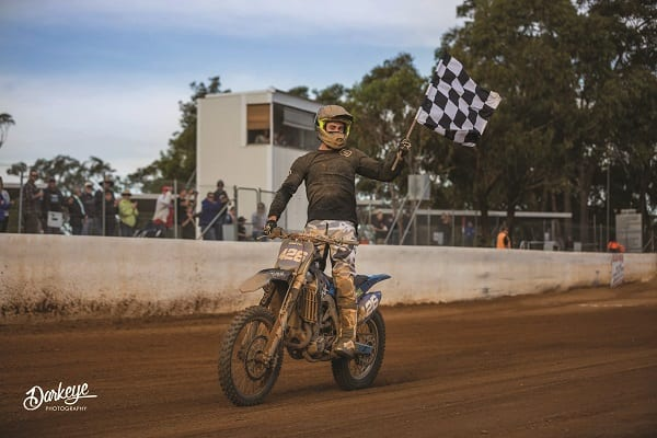 David doing victory lap after the main race