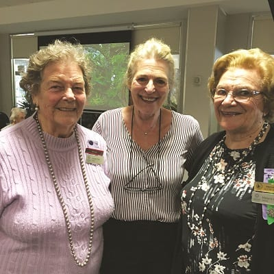 Guest Speaker Sandra Ross from Ross Garden Tours with President Marj Jarrett and Secretary Vivien Fitzer at VIEW Club Luncheon meeting held at The Galston Club in May.