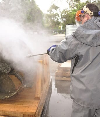 Aussie's turbo lance cuts cleaning time in half! It saves time, water and energy.