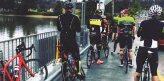 Riders ready for the climb on Sackville Ferry