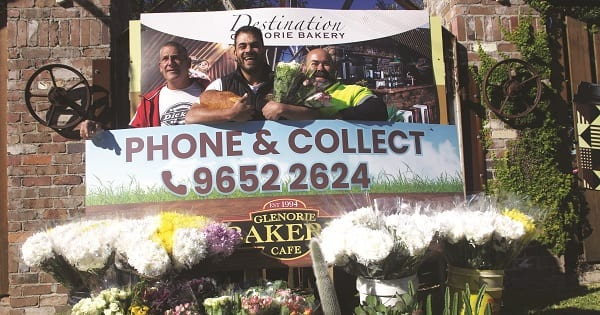 Chrysanthemum grower Vince Fusca, Glenorie Bakery owner Rob Pirina and succulent grower Carlo Grasso make the best of the COVID-19 situation.